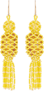 Bead And Stone Embellished Tassel Earrings - predominant colour: yellow; occasions: casual, evening, creative work; style: drop; length: long; size: standard; material: chain/metal; fastening: pierced; finish: plain; embellishment: tassels; season: a/w 2016; wardrobe: highlight