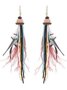 Bead And Feather Embellished Drop Earrings - predominant colour: pink; occasions: casual, holiday, creative work; style: drop; length: long; size: standard; material: chain/metal; fastening: pierced; finish: plain; embellishment: feathers; multicoloured: multicoloured; season: a/w 2016; wardrobe: highlight