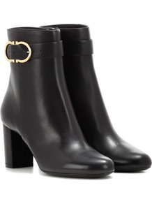 Leather Ankle Boots - predominant colour: black; occasions: casual, creative work; material: leather; heel height: mid; embellishment: buckles; heel: cone; toe: round toe; boot length: ankle boot; style: standard; finish: plain; pattern: plain; wardrobe: basic; season: a/w 2016