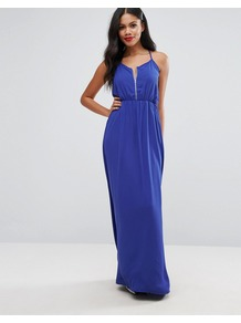 Maxi Dress Blue - sleeve style: spaghetti straps; fit: fitted at waist; pattern: plain; style: maxi dress; bust detail: subtle bust detail; predominant colour: royal blue; occasions: evening; length: floor length; neckline: scoop; fibres: polyester/polyamide - 100%; sleeve length: sleeveless; pattern type: fabric; pattern size: standard; texture group: woven light midweight; season: a/w 2016; wardrobe: event