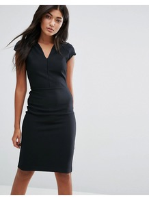Julius Bodycon Dress Black - neckline: v-neck; sleeve style: capped; fit: tight; pattern: plain; style: bodycon; predominant colour: black; occasions: evening; length: on the knee; fibres: polyester/polyamide - stretch; sleeve length: short sleeve; texture group: jersey - clingy; pattern type: fabric; season: a/w 2016; wardrobe: event