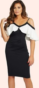 Ruffle Bodycon Dress - neckline: low v-neck; fit: tight; style: bodycon; secondary colour: white; predominant colour: black; occasions: evening; length: on the knee; fibres: polyester/polyamide - stretch; shoulder detail: cut out shoulder; sleeve length: short sleeve; sleeve style: standard; texture group: jersey - clingy; bust detail: bulky details at bust; pattern type: fabric; pattern: colourblock; multicoloured: multicoloured; season: a/w 2016; wardrobe: event