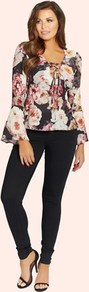 Floral V Neck Blouse - neckline: v-neck; style: blouse; sleeve style: trumpet; hip detail: draws attention to hips; secondary colour: blush; predominant colour: aubergine; occasions: casual, evening, creative work; length: standard; fibres: polyester/polyamide - mix; fit: body skimming; sleeve length: long sleeve; pattern type: fabric; pattern: florals; texture group: other - light to midweight; pattern size: big & busy (top); multicoloured: multicoloured; season: a/w 2016; wardrobe: highlight; trends: opulent prints