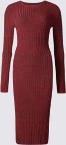 Ribbed Knit Bodycon Dress - neckline: round neck; fit: tight; pattern: plain; style: bodycon; hip detail: draws attention to hips; predominant colour: burgundy; occasions: casual; length: on the knee; sleeve length: long sleeve; sleeve style: standard; texture group: jersey - clingy; pattern type: fabric; fibres: viscose/rayon - mix; season: a/w 2016; wardrobe: highlight