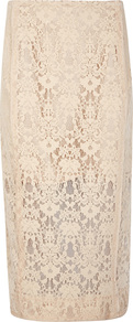 Ecru Flocked Lace Pencil Skirt - length: below the knee; style: pencil; fit: tailored/fitted; waist: high rise; predominant colour: nude; occasions: evening, occasion; fibres: polyester/polyamide - 100%; texture group: lace; pattern type: fabric; pattern: patterned/print; season: a/w 2016; wardrobe: event; embellishment location: all over