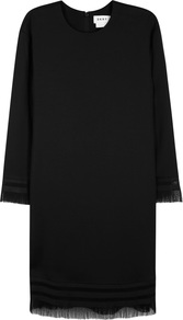 Black Fringed Dress - style: shift; length: below the knee; neckline: round neck; pattern: plain; predominant colour: black; occasions: evening; fit: straight cut; fibres: viscose/rayon - stretch; sleeve length: long sleeve; sleeve style: standard; texture group: crepes; pattern type: fabric; embellishment: fringing; season: a/w 2016; wardrobe: event; embellishment location: hem, sleeve/cuff