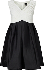 Taffeta Fit And Flare Dress, Black/Ivory - neckline: v-neck; sleeve style: sleeveless; secondary colour: ivory/cream; predominant colour: black; occasions: evening, occasion; length: on the knee; fit: fitted at waist & bust; style: fit & flare; fibres: polyester/polyamide - 100%; sleeve length: sleeveless; texture group: structured shiny - satin/tafetta/silk etc.; pattern type: fabric; pattern size: standard; pattern: colourblock; season: a/w 2016; wardrobe: event