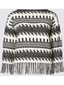 Zigzag Fringe Slash Neck 3/4 Sleeve Jumper - neckline: slash/boat neckline; pattern: horizontal stripes; style: standard; predominant colour: black; occasions: casual, creative work; length: standard; fibres: cotton - mix; fit: standard fit; sleeve length: 3/4 length; sleeve style: standard; texture group: knits/crochet; pattern type: knitted - fine stitch; embellishment: fringing; pattern size: big & busy (top); season: a/w 2016; wardrobe: highlight; embellishment location: hem, sleeve/cuff; trends: earth, monochrome