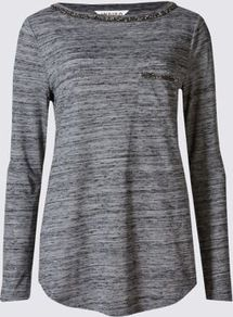 Slash Neck Long Sleeve Jersey Top - neckline: slash/boat neckline; style: t-shirt; predominant colour: charcoal; secondary colour: mid grey; occasions: casual, creative work; length: standard; fibres: polyester/polyamide - mix; fit: body skimming; sleeve length: long sleeve; sleeve style: standard; pattern type: fabric; pattern size: standard; texture group: jersey - stretchy/drapey; embellishment: beading; pattern: marl; season: a/w 2016; wardrobe: highlight; embellishment location: bust, neck