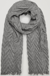 Pleated Wool Scarf - predominant colour: mid grey; occasions: casual; type of pattern: standard; style: regular; size: standard; material: knits; pattern: plain; wardrobe: basic; season: a/w 2016