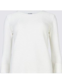 Striped 3/4 Sleeve Jumper - pattern: plain; style: standard; predominant colour: ivory/cream; occasions: casual, creative work; length: standard; fibres: acrylic - 100%; fit: slim fit; neckline: crew; sleeve length: long sleeve; sleeve style: standard; texture group: knits/crochet; pattern type: knitted - fine stitch; wardrobe: basic; season: a/w 2016