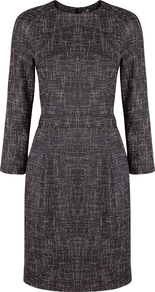 Kinna Dress - style: shift; fit: tailored/fitted; pattern: plain; predominant colour: charcoal; occasions: work; length: just above the knee; fibres: wool - mix; neckline: crew; sleeve length: 3/4 length; sleeve style: standard; pattern type: fabric; texture group: woven light midweight; wardrobe: investment; season: a/w 2016