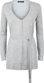 Flora Cashmere Cardigan - neckline: low v-neck; pattern: plain; length: below the bottom; predominant colour: light grey; occasions: casual, work, creative work; style: standard; fit: slim fit; waist detail: belted waist/tie at waist/drawstring; fibres: cashmere - 100%; sleeve length: long sleeve; sleeve style: standard; texture group: knits/crochet; pattern type: knitted - fine stitch; wardrobe: investment; season: a/w 2016