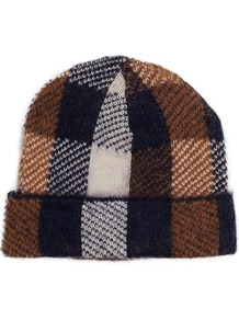 Octavia Club Check Hat - predominant colour: chocolate brown; occasions: casual; type of pattern: large; style: beanie; size: standard; material: knits; pattern: checked/gingham; multicoloured: multicoloured; season: a/w 2016; wardrobe: highlight