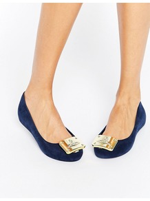 Vivienne Westwood For Gold Plaque Trim Ballerina Navy - predominant colour: navy; occasions: casual; material: fabric; heel height: flat; toe: round toe; style: ballerinas / pumps; finish: plain; pattern: plain; wardrobe: basic; season: a/w 2016