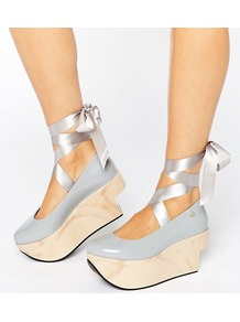 Vivienne Westwood For Flatform Tie Ankle Shoe Grey - predominant colour: pale blue; occasions: casual, creative work; material: leather; heel height: mid; ankle detail: ankle strap; heel: wedge; toe: round toe; style: courts; finish: patent; pattern: plain; shoe detail: platform; season: a/w 2016; wardrobe: highlight