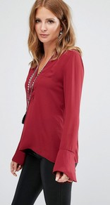 Deep V Blouse Red - neckline: v-neck; sleeve style: bell sleeve; pattern: plain; style: blouse; predominant colour: true red; occasions: casual, evening, creative work; length: standard; fibres: polyester/polyamide - 100%; fit: body skimming; sleeve length: long sleeve; texture group: sheer fabrics/chiffon/organza etc.; pattern type: fabric; season: a/w 2016; wardrobe: highlight