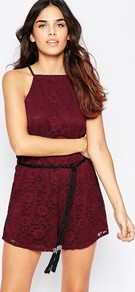 Lace Playsuit With Tasseled Rope Belt Burgundy - neckline: high square neck; sleeve style: sleeveless; hip detail: draws attention to hips; waist detail: belted waist/tie at waist/drawstring; length: short shorts; predominant colour: burgundy; occasions: evening; fit: body skimming; sleeve length: sleeveless; texture group: lace; style: playsuit; pattern type: fabric; pattern: patterned/print; fibres: nylon - stretch; season: a/w 2016; wardrobe: event