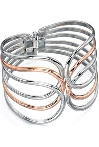 Costume Cut Out Bangle - predominant colour: silver; secondary colour: gold; occasions: casual; style: bangle/standard; size: large/oversized; material: chain/metal; finish: metallic; multicoloured: multicoloured; season: a/w 2016; wardrobe: highlight