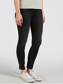 High Rise Skinny Ankle Zip Jeans, Black Lake - style: skinny leg; length: standard; pattern: plain; pocket detail: traditional 5 pocket; waist: mid/regular rise; predominant colour: black; occasions: casual; fibres: cotton - stretch; texture group: denim; pattern type: fabric; embellishment: zips; wardrobe: basic; season: a/w 2016; embellishment location: hem