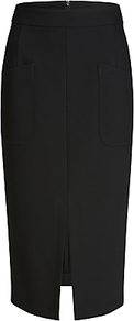 Pencil Skirt, Black - length: below the knee; pattern: plain; style: pencil; fit: tailored/fitted; waist: mid/regular rise; predominant colour: black; occasions: work, creative work; fibres: polyester/polyamide - stretch; texture group: crepes; pattern type: fabric; wardrobe: basic; season: s/s 2017