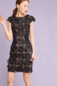 Anni Floral Pencil Dress, Black - style: shift; length: mid thigh; sleeve style: capped; fit: tailored/fitted; secondary colour: nude; predominant colour: black; occasions: evening, occasion; fibres: polyester/polyamide - 100%; neckline: crew; sleeve length: short sleeve; texture group: lace; pattern type: fabric; pattern size: standard; pattern: florals; embellishment: applique; wardrobe: event; season: s/s 2017; embellishment location: pattern