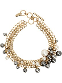 Faux Pearl Gold Tone Necklace - predominant colour: gold; occasions: evening, occasion; length: short; size: large/oversized; material: chain/metal; finish: metallic; embellishment: beading; style: bib/statement; wardrobe: event; season: s/s 2017