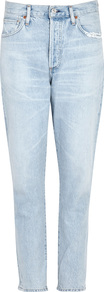 Liya Cropped Slim Leg Jeans - length: standard; pattern: plain; pocket detail: traditional 5 pocket; style: slim leg; waist: mid/regular rise; predominant colour: pale blue; occasions: casual; fibres: cotton - stretch; jeans detail: washed/faded; texture group: denim; pattern type: fabric; wardrobe: basic; season: s/s 2017