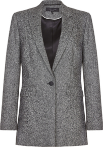 Rag Bone Ronin Blazer - pattern: plain; style: single breasted blazer; collar: standard lapel/rever collar; predominant colour: charcoal; occasions: work; length: standard; fit: tailored/fitted; fibres: polyester/polyamide - 100%; sleeve length: long sleeve; sleeve style: standard; collar break: medium; pattern type: fabric; texture group: tweed - light/midweight; wardrobe: investment; season: s/s 2017
