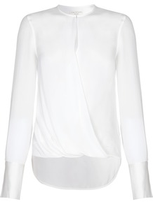 Rag Bone Max Blouse - pattern: plain; style: blouse; predominant colour: white; length: standard; neckline: peep hole neckline; fibres: polyester/polyamide - 100%; fit: body skimming; sleeve length: long sleeve; sleeve style: standard; pattern type: fabric; texture group: jersey - stretchy/drapey; occasions: creative work; wardrobe: basic; season: s/s 2017