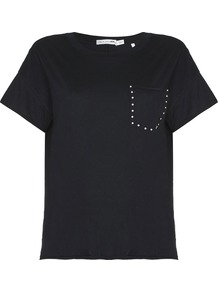Rag Bone Crew Stud Tshirt - pattern: plain; style: t-shirt; bust detail: subtle bust detail; secondary colour: silver; predominant colour: black; occasions: casual, creative work; length: standard; fibres: cotton - mix; fit: body skimming; neckline: crew; sleeve length: short sleeve; sleeve style: standard; pattern type: fabric; pattern size: standard; texture group: jersey - stretchy/drapey; embellishment: studs; wardrobe: highlight; season: s/s 2017; embellishment location: bust