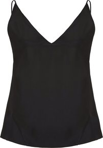 Black Lucy Cami - neckline: v-neck; sleeve style: spaghetti straps; pattern: plain; style: camisole; back detail: back revealing; predominant colour: black; occasions: evening; length: standard; fibres: silk - 100%; fit: body skimming; sleeve length: sleeveless; texture group: silky - light; pattern type: fabric; pattern size: standard; wardrobe: event; season: s/s 2017