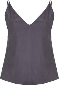 Grey Lucy Cami - neckline: low v-neck; sleeve style: spaghetti straps; pattern: plain; style: camisole; predominant colour: charcoal; occasions: evening; length: standard; fibres: silk - 100%; fit: body skimming; sleeve length: sleeveless; texture group: structured shiny - satin/tafetta/silk etc.; pattern type: fabric; wardrobe: event; season: s/s 2017