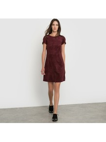 Short Sleeved Faux Suede Dress - pattern: plain; predominant colour: burgundy; occasions: evening; length: just above the knee; fit: fitted at waist & bust; style: fit & flare; fibres: polyester/polyamide - stretch; neckline: crew; sleeve length: short sleeve; sleeve style: standard; pattern type: fabric; texture group: suede; wardrobe: event; season: s/s 2017