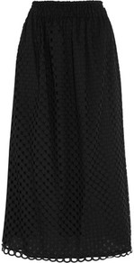 Broderie Anglaise Cotton Midi Skirt Black - length: calf length; pattern: plain; fit: loose/voluminous; waist: mid/regular rise; predominant colour: black; occasions: casual; style: a-line; fibres: cotton - 100%; pattern type: fabric; texture group: broiderie anglais; wardrobe: highlight; season: s/s 2017