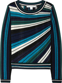 Joletta Striped Metallic Knit Jumper Size - neckline: round neck; pattern: horizontal stripes; style: standard; predominant colour: navy; occasions: casual, creative work; length: standard; fit: standard fit; sleeve length: long sleeve; sleeve style: standard; texture group: knits/crochet; pattern type: knitted - fine stitch; fibres: viscose/rayon - mix; pattern size: big & busy (top); multicoloured: multicoloured; wardrobe: highlight; season: s/s 2017