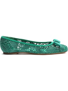 Varina Lace Ballet Flats - predominant colour: emerald green; occasions: casual, creative work; material: suede; heel height: flat; toe: round toe; style: ballerinas / pumps; finish: plain; pattern: plain; embellishment: bow; wardrobe: highlight; season: s/s 2017