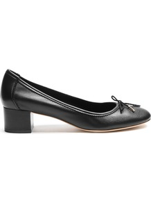 Enea Leather Pumps - predominant colour: black; occasions: work; material: leather; heel height: mid; heel: block; toe: round toe; style: courts; finish: plain; pattern: plain; wardrobe: investment; season: s/s 2017