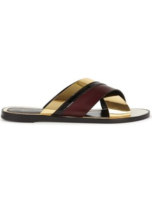 Tri Tone Leather Sliders - secondary colour: aubergine; predominant colour: gold; material: leather; heel height: flat; heel: standard; toe: open toe/peeptoe; style: slides; occasions: holiday; finish: plain; pattern: colourblock; wardrobe: highlight; season: s/s 2017