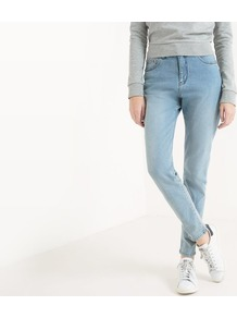 Donna Promise Tapered Jeans - length: standard; pattern: plain; pocket detail: traditional 5 pocket; waist: mid/regular rise; style: tapered; predominant colour: pale blue; occasions: casual; fibres: cotton - stretch; jeans detail: washed/faded; texture group: denim; pattern type: fabric; wardrobe: basic; season: s/s 2017