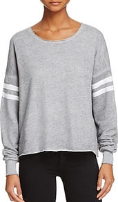5 Am Basic Stripe Sweatshirt - neckline: round neck; pattern: striped; style: sweat top; secondary colour: white; predominant colour: light grey; occasions: casual, activity; length: standard; fibres: polyester/polyamide - 100%; fit: loose; sleeve length: long sleeve; sleeve style: standard; pattern type: fabric; pattern size: light/subtle; texture group: jersey - stretchy/drapey; season: s/s 2017