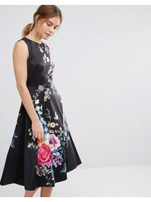 Floral Embroidered Midi Skater Dress Black - length: below the knee; sleeve style: sleeveless; style: prom dress; secondary colour: hot pink; predominant colour: black; fit: fitted at waist & bust; fibres: polyester/polyamide - 100%; occasions: occasion; neckline: crew; back detail: keyhole/peephole detail at back; sleeve length: sleeveless; texture group: structured shiny - satin/tafetta/silk etc.; pattern type: fabric; pattern: florals; multicoloured: multicoloured; wardrobe: event; season: s/s 2017