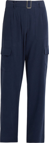 Manon Silk Cargo Trousers - length: standard; pattern: plain; waist detail: belted waist/tie at waist/drawstring; waist: mid/regular rise; style: cargo; predominant colour: navy; occasions: casual, creative work; fibres: silk - 100%; fit: straight leg; pattern type: fabric; texture group: woven light midweight; wardrobe: basic; season: s/s 2017