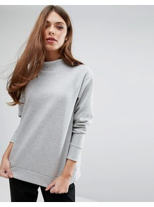 Hilde Turtleneck Sweatshirt 18 Lt Gry Mlng - pattern: plain; length: below the bottom; neckline: roll neck; style: standard; predominant colour: mid grey; occasions: casual; fibres: cotton - mix; fit: standard fit; sleeve length: long sleeve; sleeve style: standard; texture group: knits/crochet; pattern type: knitted - fine stitch; wardrobe: basic; season: s/s 2017