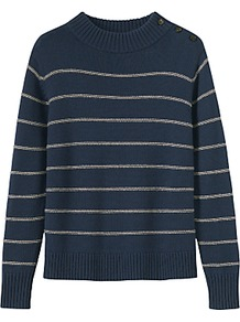 Stripe Wool Cotton Jumper - pattern: horizontal stripes; neckline: high neck; style: standard; predominant colour: navy; secondary colour: stone; occasions: casual, creative work; length: standard; fibres: wool - mix; fit: standard fit; sleeve length: long sleeve; sleeve style: standard; texture group: knits/crochet; pattern type: knitted - other; pattern size: standard; wardrobe: highlight; season: s/s 2017