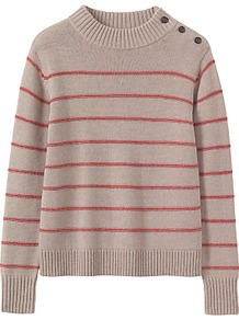 Stripe Wool Cotton Jumper - pattern: horizontal stripes; neckline: high neck; style: standard; secondary colour: true red; predominant colour: stone; occasions: casual, creative work; length: standard; fibres: wool - mix; fit: standard fit; sleeve length: long sleeve; sleeve style: standard; texture group: knits/crochet; pattern type: knitted - other; pattern size: standard; wardrobe: highlight; season: s/s 2017