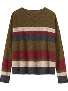 Stripe Gauzy Jumper, Multi - neckline: round neck; pattern: horizontal stripes; style: standard; predominant colour: khaki; occasions: casual, creative work; length: standard; fibres: wool - mix; fit: loose; sleeve length: long sleeve; sleeve style: standard; texture group: knits/crochet; pattern type: knitted - fine stitch; pattern size: standard; multicoloured: multicoloured; wardrobe: highlight; season: s/s 2017