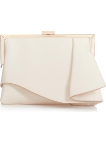 Rae Ruffle Bag - predominant colour: ivory/cream; secondary colour: gold; occasions: evening, occasion; type of pattern: standard; style: clutch; length: hand carry; size: standard; material: fabric; pattern: plain; finish: plain; wardrobe: event; season: s/s 2017