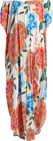 Arcadia Coral Print Cover Up Maxi Dress - neckline: off the shoulder; fit: loose; style: maxi dress; length: ankle length; predominant colour: ivory/cream; secondary colour: bright orange; fibres: cotton - 100%; sleeve length: short sleeve; sleeve style: standard; texture group: cotton feel fabrics; occasions: holiday; pattern type: fabric; pattern size: big & busy; pattern: florals; multicoloured: multicoloured; wardrobe: holiday; season: s/s 2017; embellishment: pleats; embellishment location: bust, hip