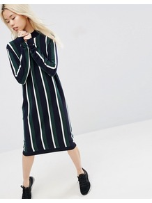 Knitted Cashmere Mix Collegiate Stripe Midi Dress Multi - style: jumper dress; length: below the knee; neckline: high neck; pattern: striped; secondary colour: navy; predominant colour: dark green; occasions: casual, creative work; fit: body skimming; sleeve length: long sleeve; sleeve style: standard; texture group: knits/crochet; pattern type: knitted - fine stitch; fibres: viscose/rayon - mix; multicoloured: multicoloured; wardrobe: highlight; season: s/s 2017